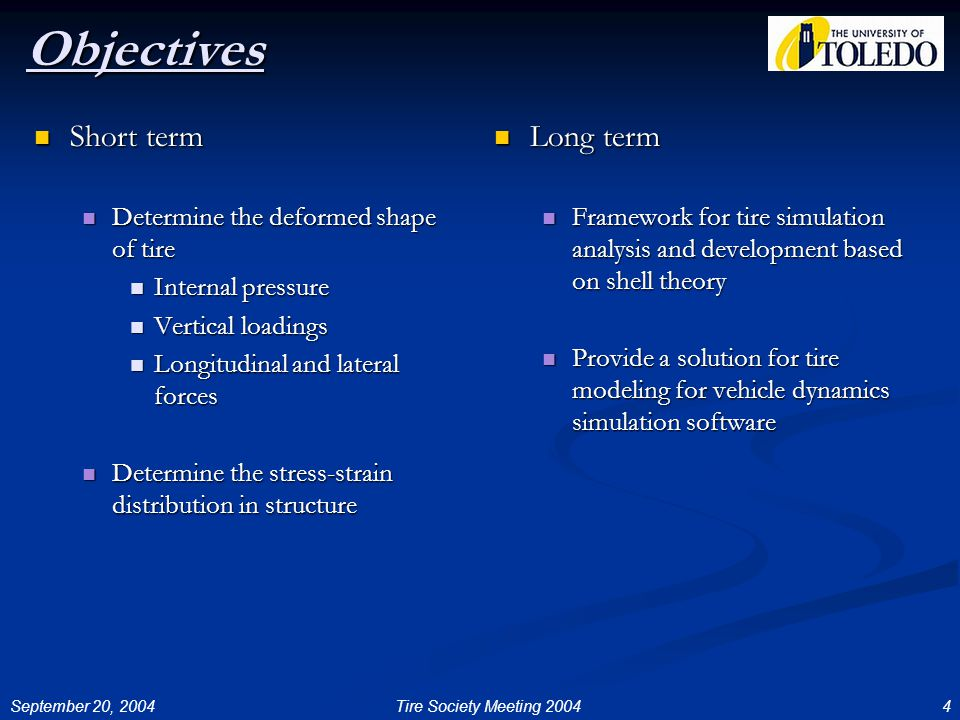 September 20, 20044Tire Society Meeting 2004 Objectives Short term Short term Determine the deformed shape of tire Determine the deformed shape of tire Internal pressure Internal pressure Vertical loadings Vertical loadings Longitudinal and lateral forces Longitudinal and lateral forces Determine the stress-strain distribution in structure Determine the stress-strain distribution in structure Long term Framework for tire simulation analysis and development based on shell theory Provide a solution for tire modeling for vehicle dynamics simulation software