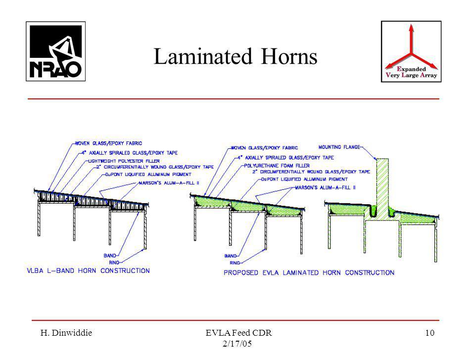 H. Dinwiddie EVLA Feed CDR 2/17/05 10 Laminated Horns