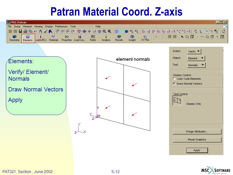 S-12PAT321, Section, June 2002 Patran Material Coord.