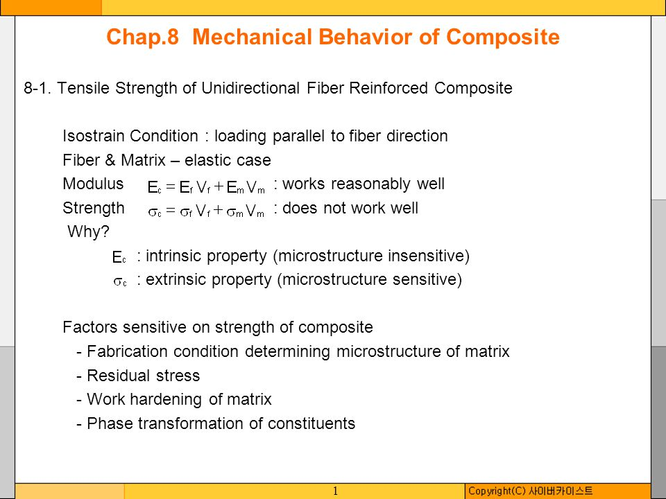 1 Chap.8 Mechanical Behavior of Composite 8-1. Tensile Strength of Unidirectional Fiber Reinforced Composite Isostrain Condition : loading parallel to