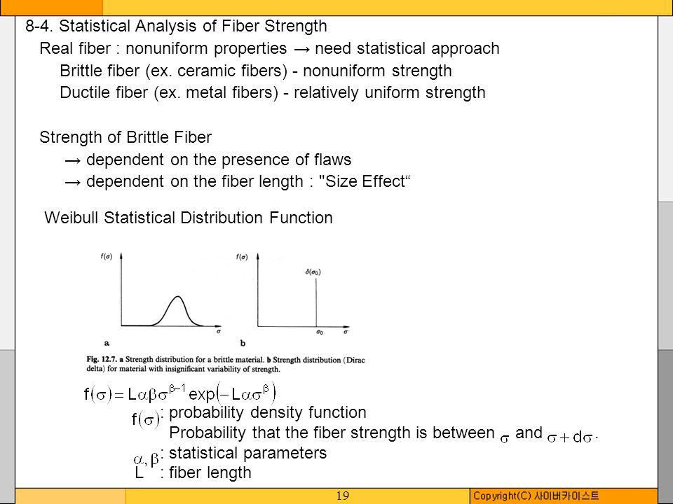 19 8-4. Statistical Analysis of Fiber Strength Real fiber : nonuniform properties need statistical approach Brittle fiber (ex. ceramic fibers) - nonun