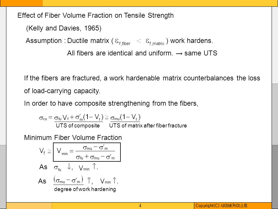4 Effect of Fiber Volume Fraction on Tensile Strength (Kelly and Davies, 1965) Assumption :Ductile matrix ( ) work hardens. All fibers are identical a