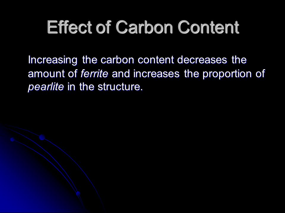 Effect of Carbon Content Increasing the carbon content decreases the amount of ferrite and increases the proportion of pearlite in the structure.