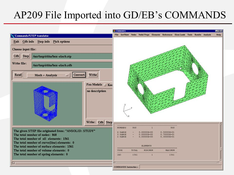 AP209 File Imported into GD/EBs COMMANDS