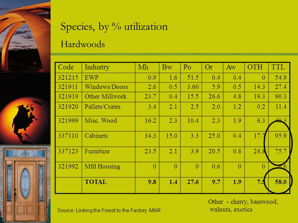 Species, by % utilization Hardwoods Other - cherry, basswood, walnuts, exotics CodeIndustryMhBwPoOrAwOTHTTL 321215EWP0.91.651.50.4 054.9 321911Windows/Doors2.60.53.605.90.514.327.4 321919Other Millwork23.70.415.526.64.819.390.3 321920Pallets/Crates3.42.12.52.01.20.211.4 321999Misc.