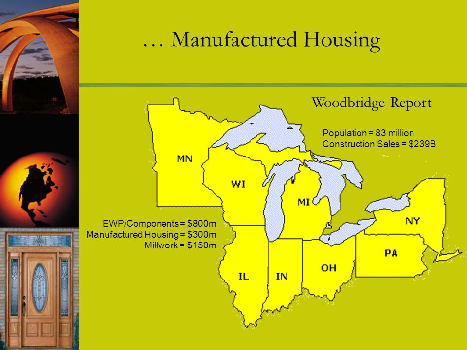 Population = 83 million Construction Sales = $239B EWP/Components = $800m Manufactured Housing = $300m Millwork = $150m Woodbridge Report … Manufactured Housing