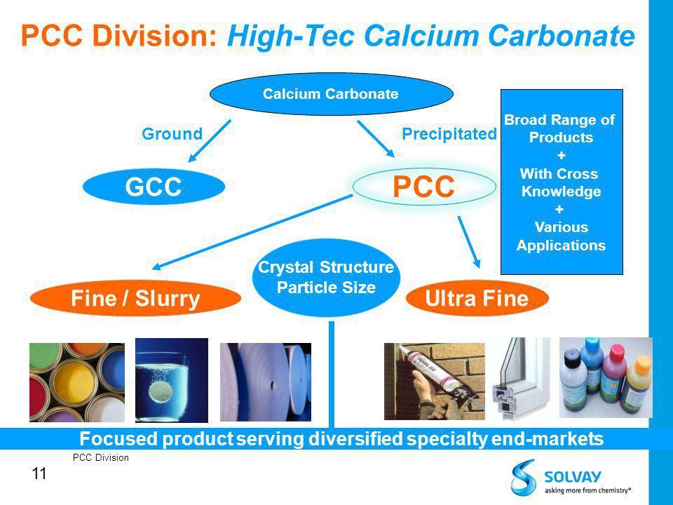 11 PCC Division: High-Tec Calcium Carbonate PCC Division Calcium Carbonate GCC PCC GroundPrecipitated Fine / SlurryUltra Fine Crystal Structure Partic
