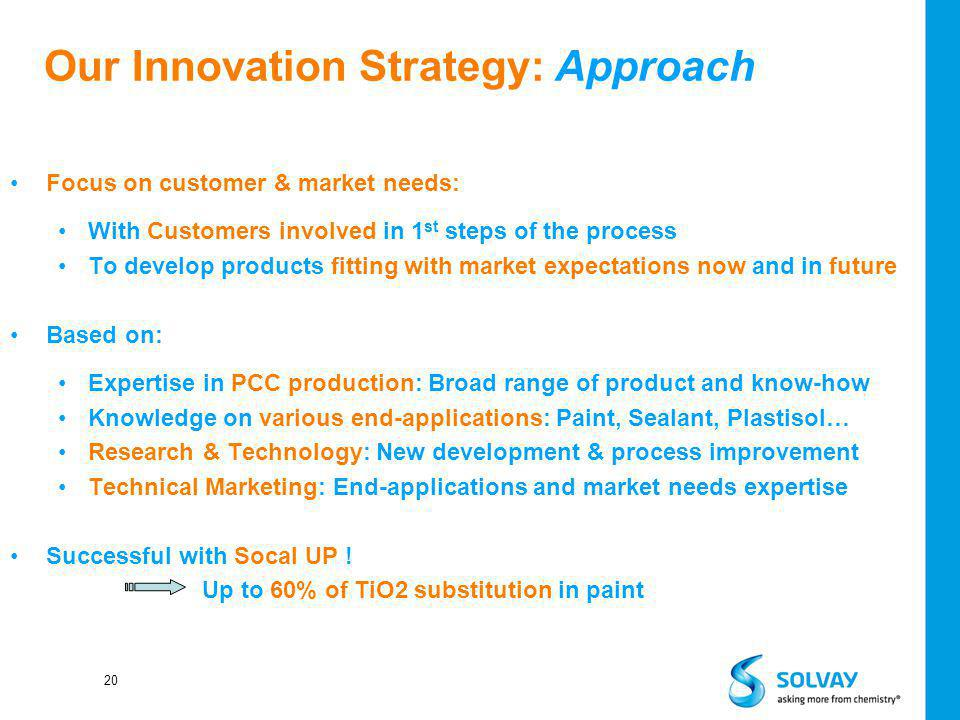 20 Our Innovation Strategy: Approach Focus on customer & market needs: With Customers involved in 1 st steps of the process To develop products fittin