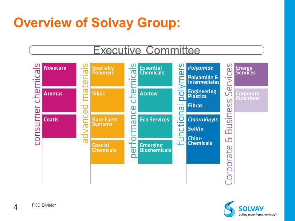 4 Overview of Solvay Group: PCC Division Executive Committee
