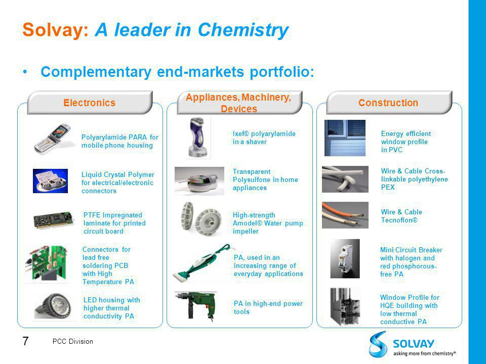 7 Solvay: A leader in Chemistry Complementary end-markets portfolio: Polyarylamide PARA for mobile phone housing Liquid Crystal Polymer for electrical
