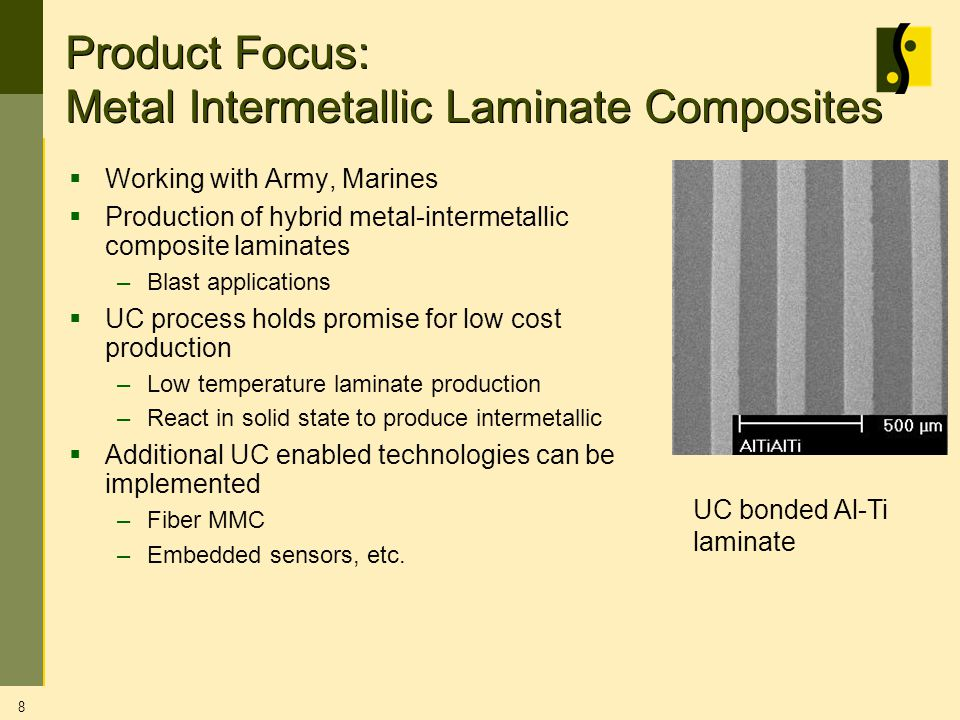 8 Product Focus: Metal Intermetallic Laminate Composites Working with Army, Marines Production of hybrid metal-intermetallic composite laminates –Blast applications UC process holds promise for low cost production –Low temperature laminate production –React in solid state to produce intermetallic Additional UC enabled technologies can be implemented –Fiber MMC –Embedded sensors, etc.