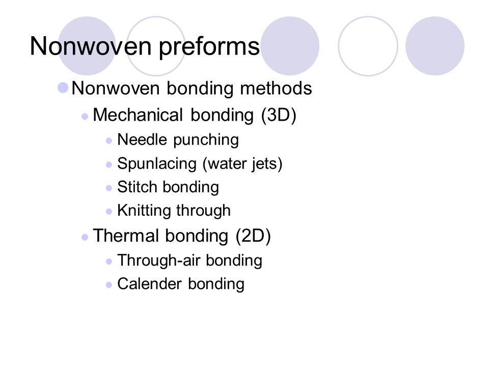 Nonwoven preforms l Nonwoven web-forming processes: l Wet laying l Dry laying l Other Methods l Nonwoven bonding methods: lLatex bonding (2D) l Saturation bonding l Gravure printing l Screen printing l Spray bonding l Foam bonding