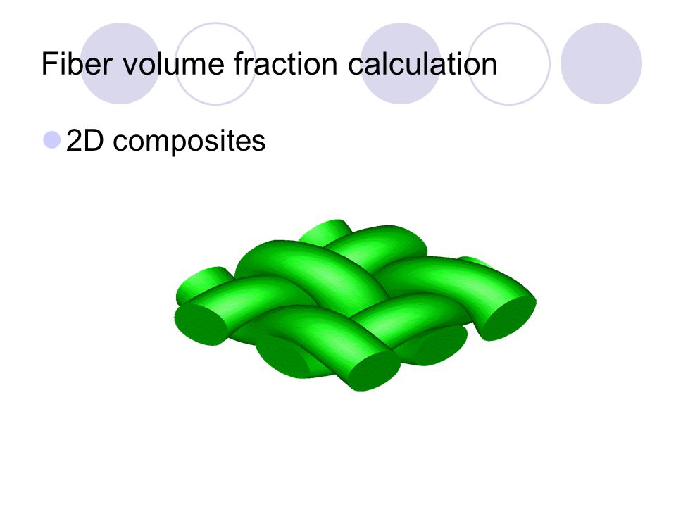 Fiber volume fraction calculation Unidirectional composites use the equations described earlier in the chapter for theoretical calculation use photomicrographic method 3D composites