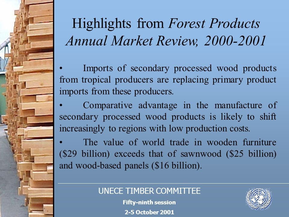UNECE TIMBER COMMITTEE Fifty-ninth session 2-5 October 2001 Highlights from Forest Products Annual Market Review, 2000-2001 Engineered wood product markets are gaining market share in North America; for example, 33% of wood floor area is now built with wooden I-beams.