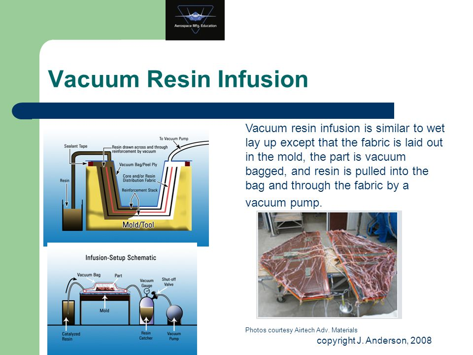 Vacuum Resin Infusion Vacuum resin infusion is similar to wet lay up except that the fabric is laid out in the mold, the part is vacuum bagged, and re
