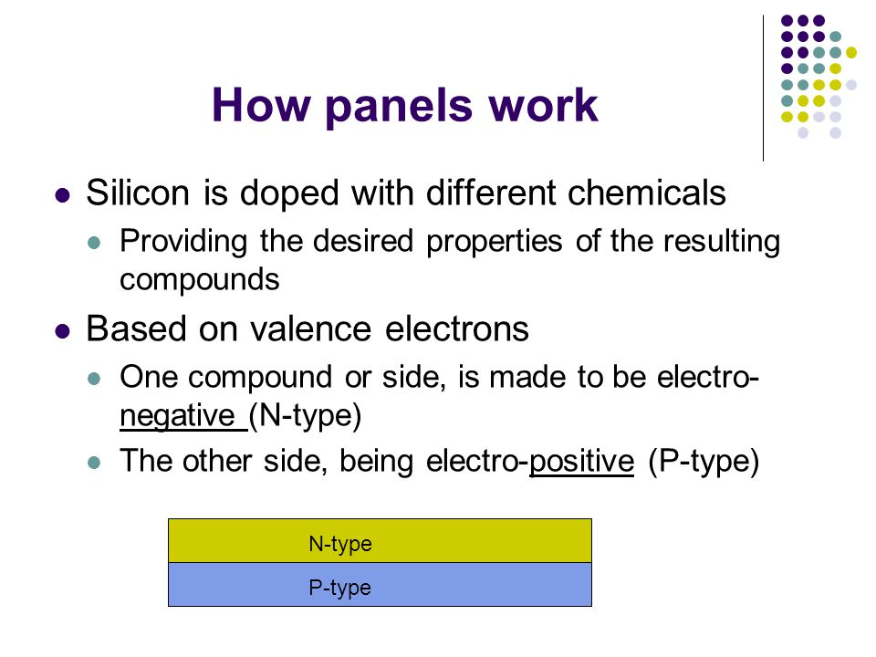 N-Type: Semiconductors with an excess of electrons P-Type: Semiconductors with an absence of electrons