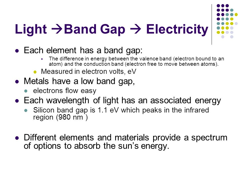 Light Band Gap Electricity Each element has a band gap: The difference in energy between the valence band (electron bound to an atom) and the conduction band (electron free to move between atoms).