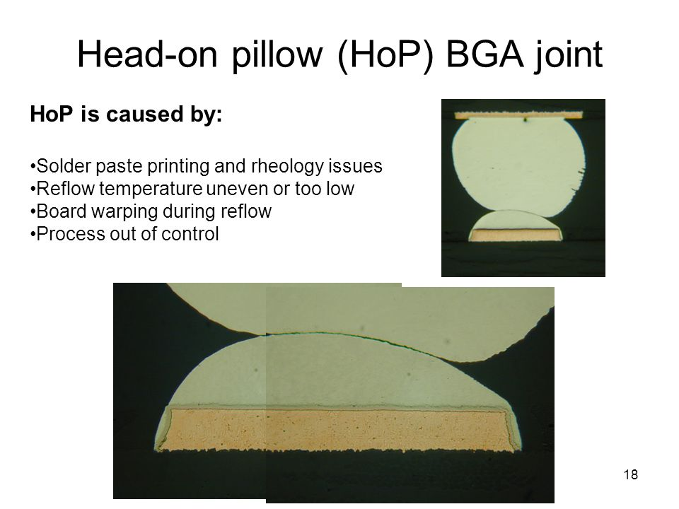 18 Head-on pillow (HoP) BGA joint HoP is caused by: Solder paste printing and rheology issues Reflow temperature uneven or too low Board warping during reflow Process out of control