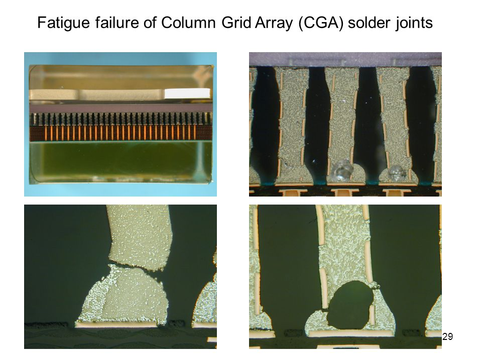 29 Fatigue failure of Column Grid Array (CGA) solder joints