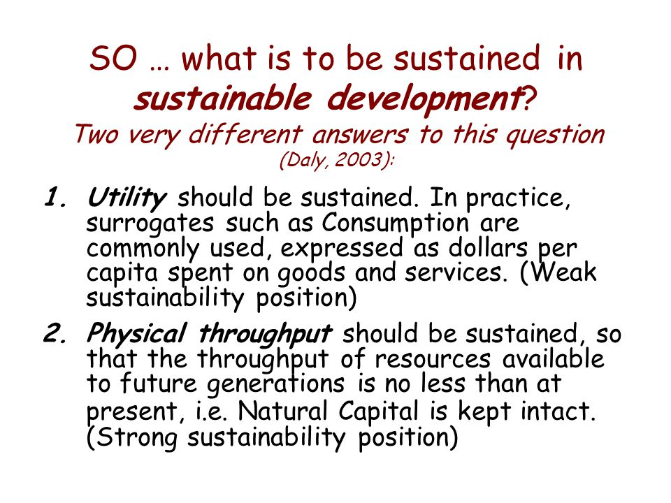 SO … what is to be sustained in sustainable development.