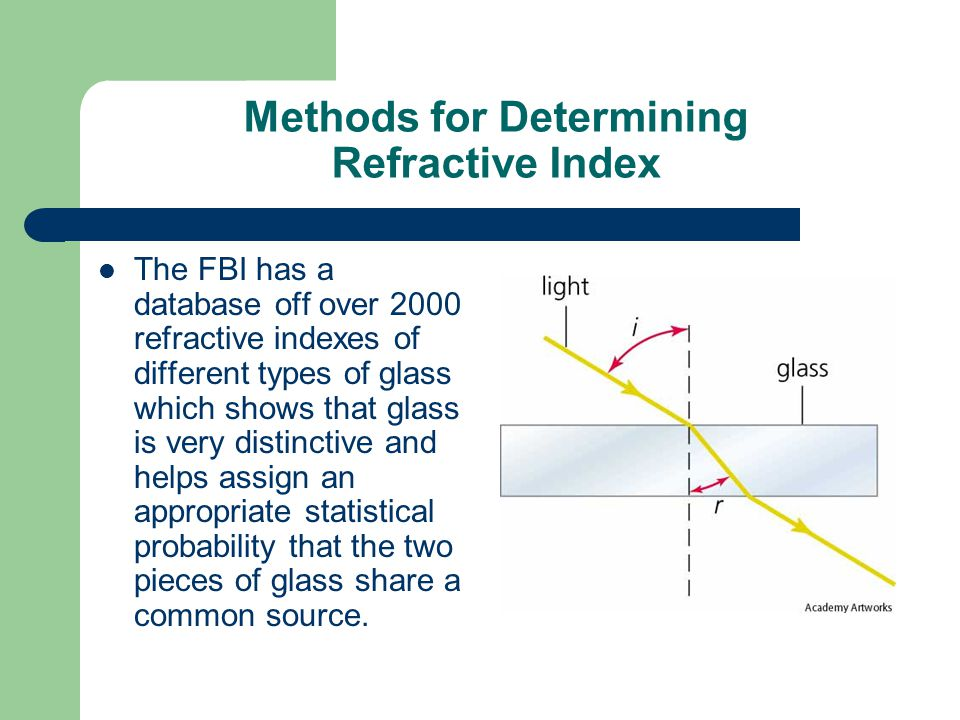 Methods for Determining Refractive Index The FBI has a database off over 2000 refractive indexes of different types of glass which shows that glass is