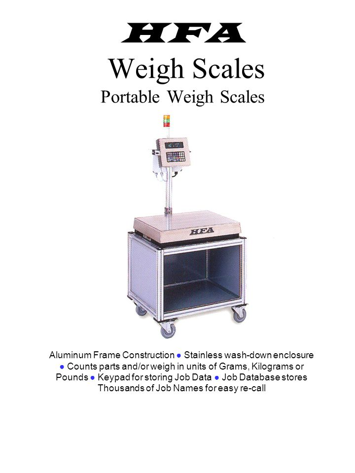 Weigh Scale Attached to Inspection Table Weigh Scale Built into Box-Filling System