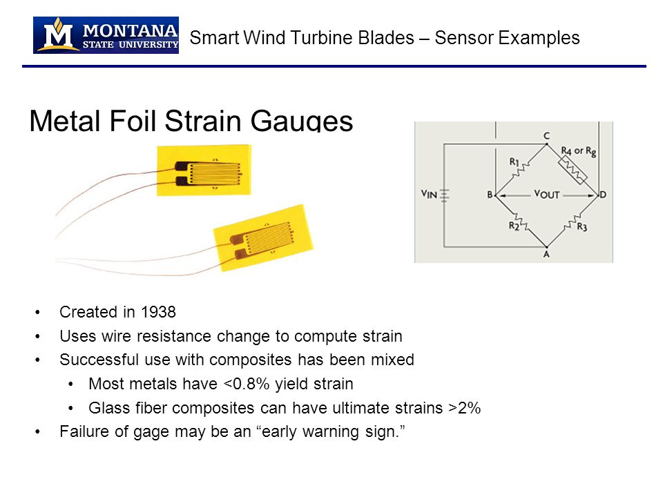 Smart Wind Turbine Blades – Sensor Examples Metal Foil Strain Gauges Created in 1938 Uses wire resistance change to compute strain Successful use with composites has been mixed Most metals have <0.8% yield strain Glass fiber composites can have ultimate strains >2% Failure of gage may be an early warning sign.