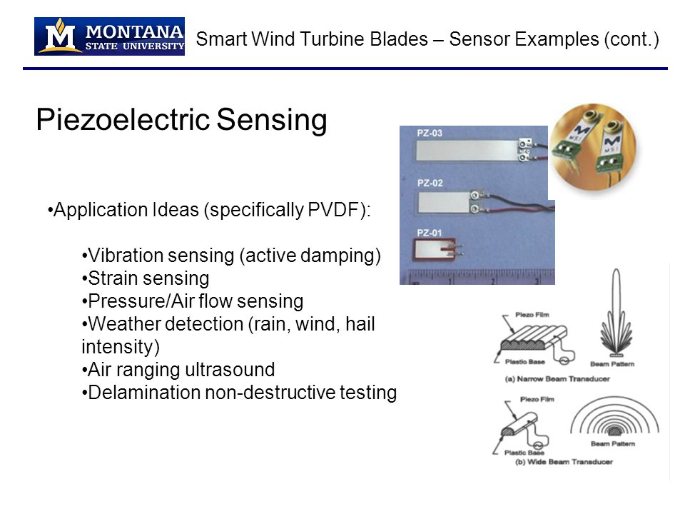 Smart Wind Turbine Blades – Sensor Examples (cont.) Piezoelectric Sensing Application Ideas (specifically PVDF): Vibration sensing (active damping) Strain sensing Pressure/Air flow sensing Weather detection (rain, wind, hail intensity) Air ranging ultrasound Delamination non-destructive testing