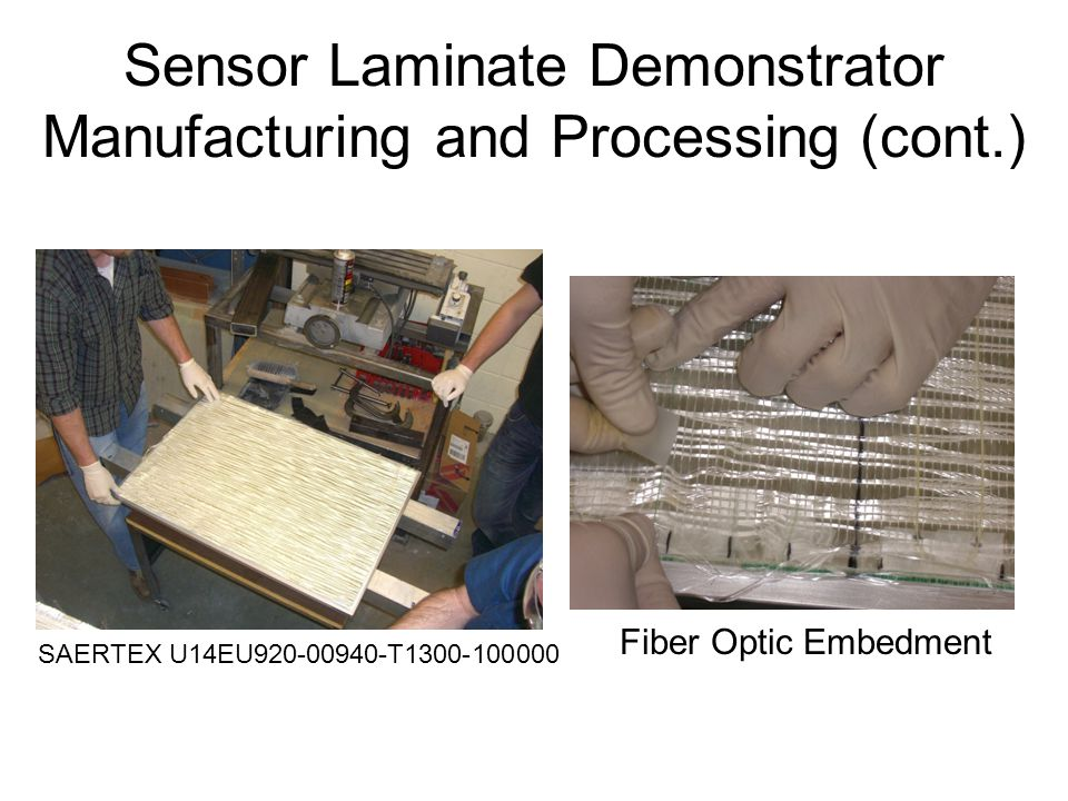 Sensor Laminate Demonstrator Manufacturing and Processing (cont.) SAERTEX U14EU920-00940-T1300-100000 Fiber Optic Embedment