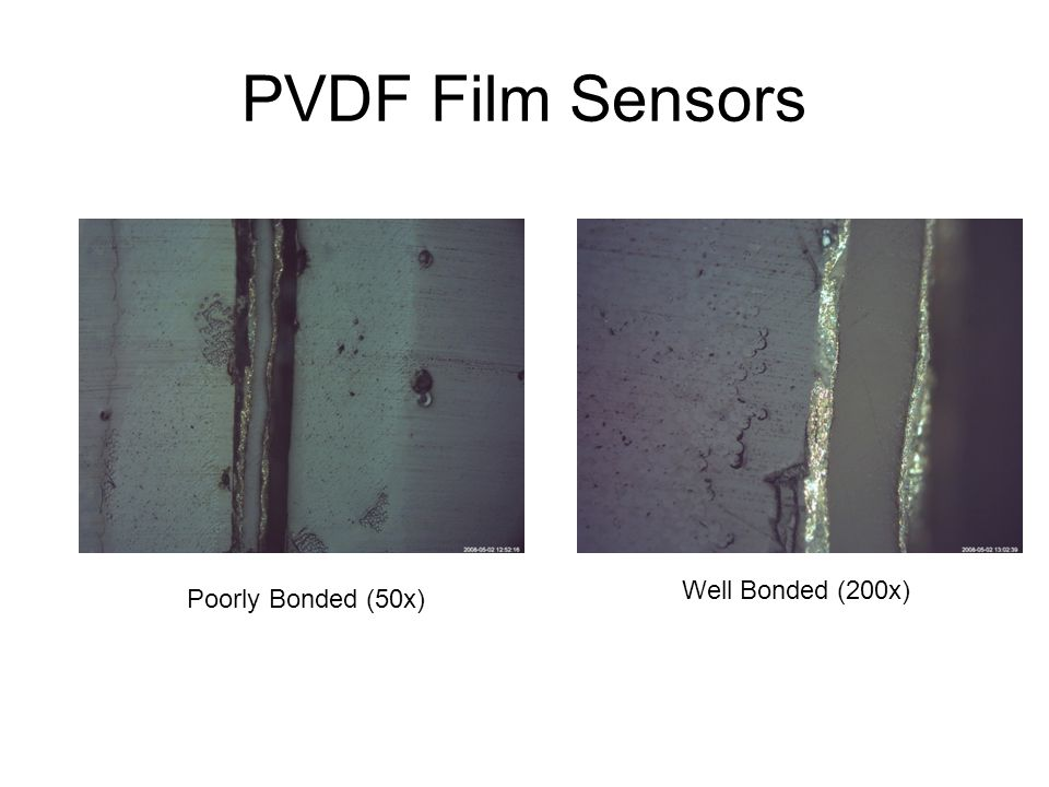 PVDF Film Sensors Poorly Bonded (50x) Well Bonded (200x)