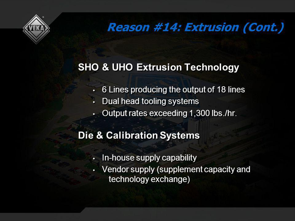 SHO & UHO Extrusion Technology 6 Lines producing the output of 18 lines Dual head tooling systems Output rates exceeding 1,300 lbs./hr. Die & Calibrat