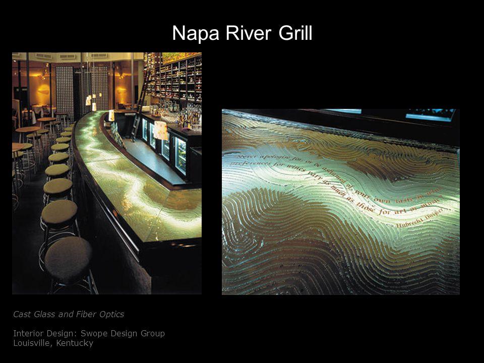 Napa River Grill Cast Glass and Fiber Optics Interior Design: Swope Design Group Louisville, Kentucky