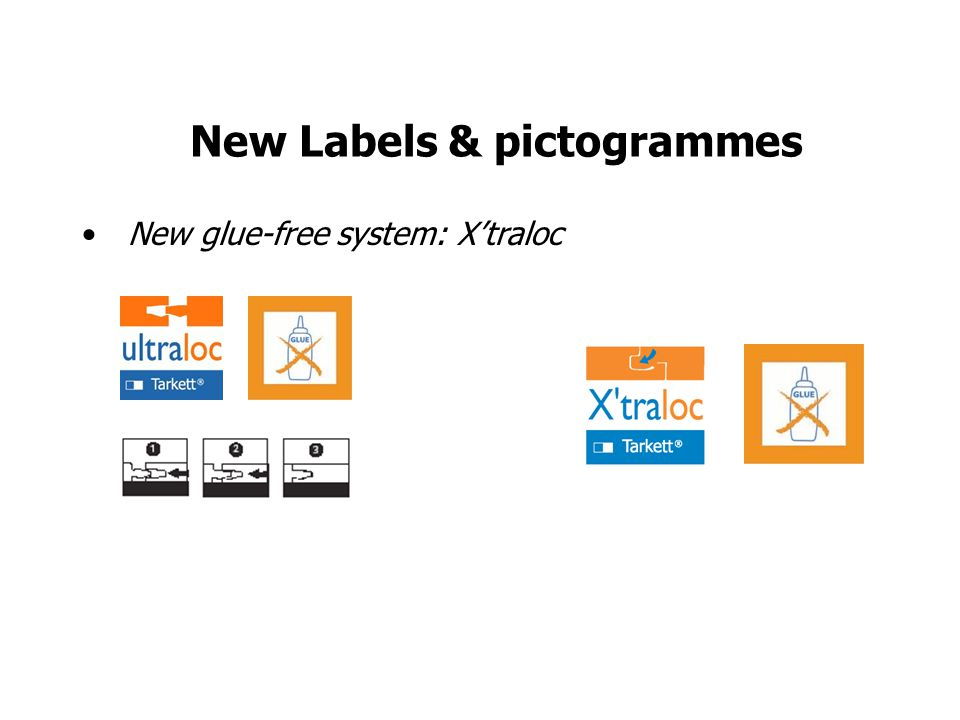 New Labels & pictogrammes New glue-free system: Xtraloc