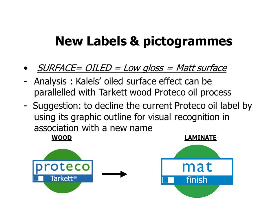New Labels & pictogrammes SURFACE= OILED = Low gloss = Matt surface -Analysis : Kaleïs oiled surface effect can be parallelled with Tarkett wood Proteco oil process - Suggestion: to decline the current Proteco oil label by using its graphic outline for visual recognition in association with a new name WOODLAMINATE