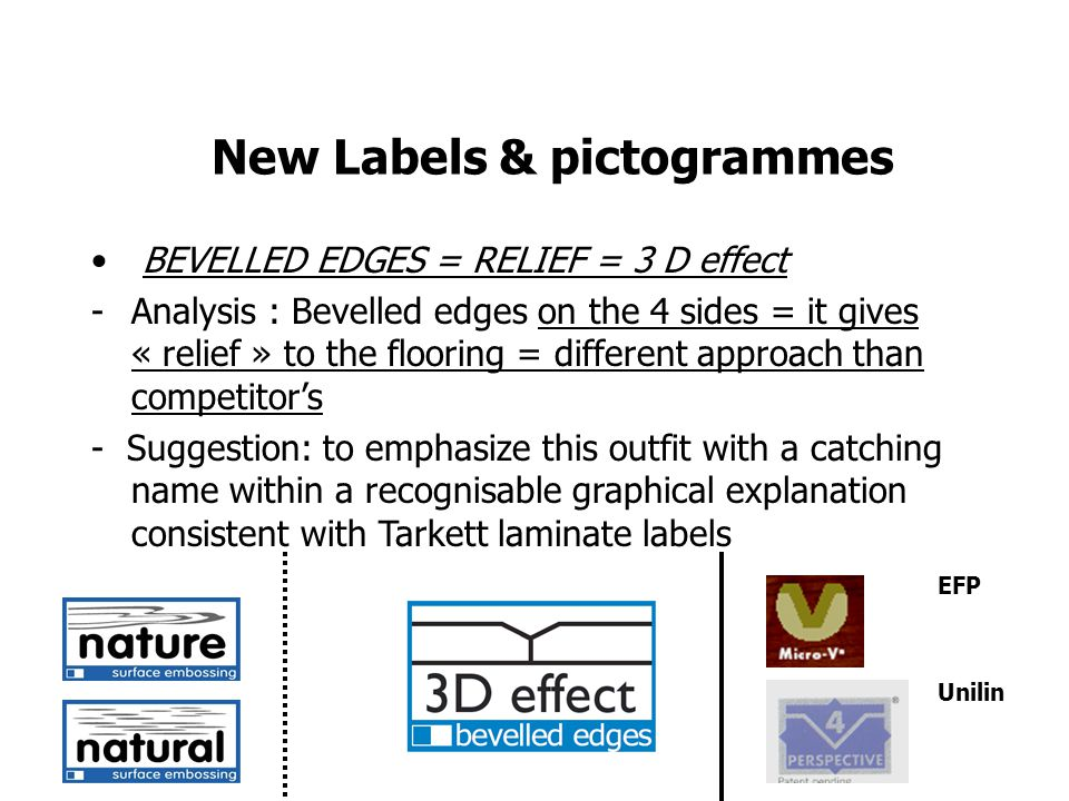 New Labels & pictogrammes BEVELLED EDGES = RELIEF = 3 D effect -Analysis : Bevelled edges on the 4 sides = it gives « relief » to the flooring = different approach than competitors - Suggestion: to emphasize this outfit with a catching name within a recognisable graphical explanation consistent with Tarkett laminate labels EFP Unilin
