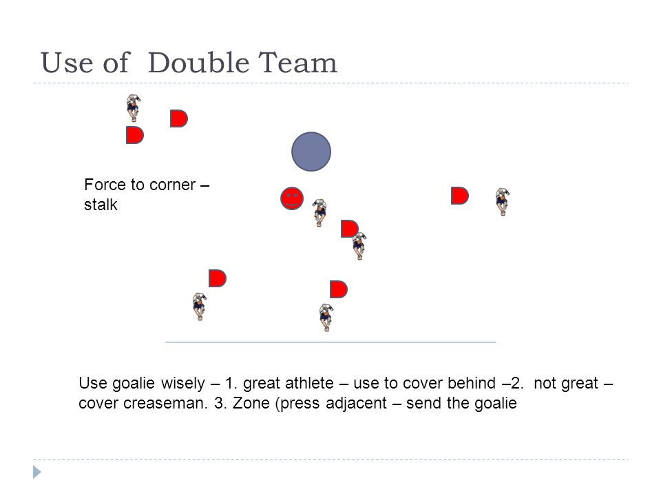 Use of Double Team Force to corner – stalk Use goalie wisely – 1.