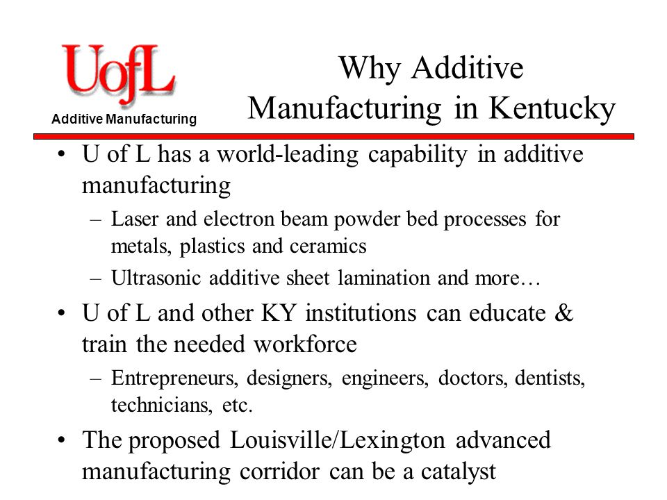 Additive Manufacturing Why Additive Manufacturing in Kentucky U of L has a world-leading capability in additive manufacturing –Laser and electron beam