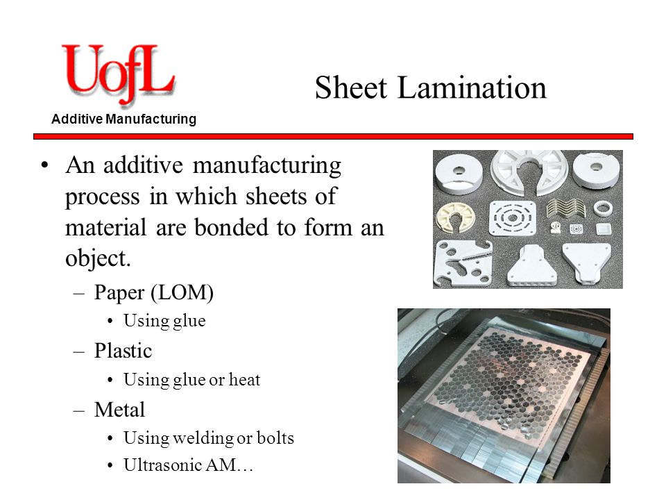 Additive Manufacturing Sheet Lamination An additive manufacturing process in which sheets of material are bonded to form an object. –Paper (LOM) Using