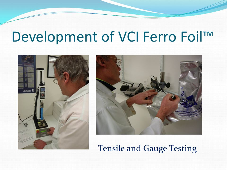 Development of VCI Ferro Foil Grammage weight test Dart impact TEST