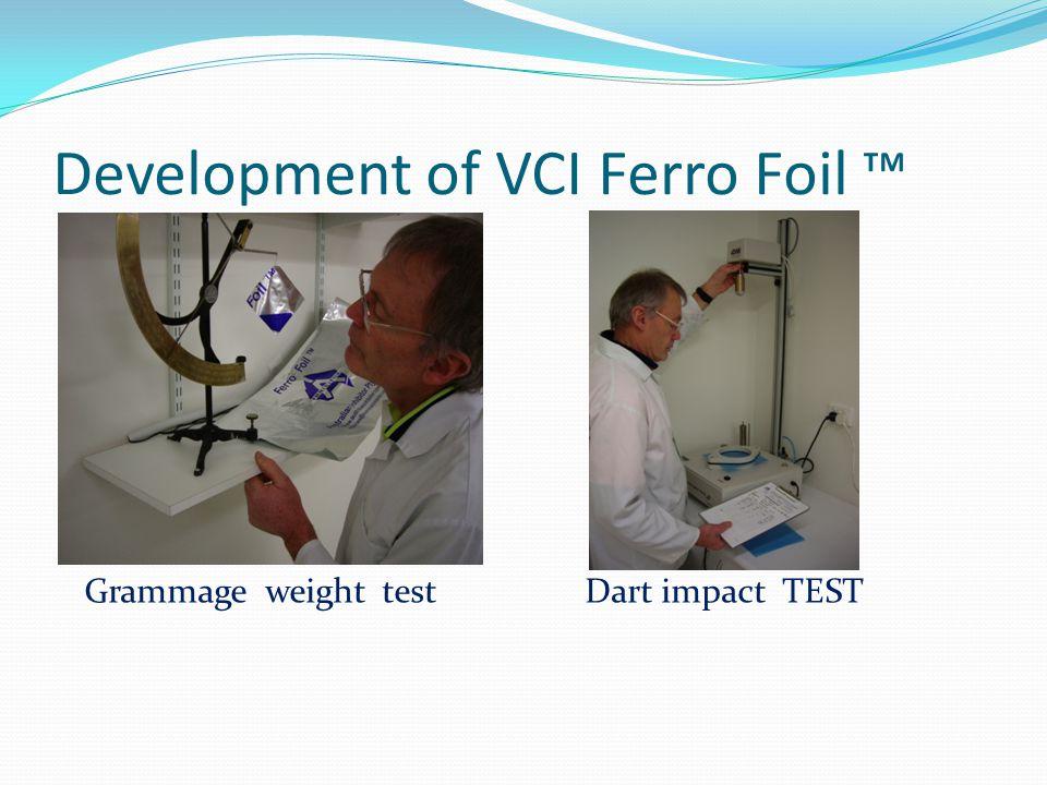 Development of VCI Ferro Foil Grammage weight test Dart impact TEST