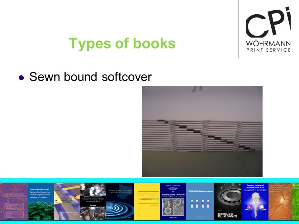 Types of books Sewn bound softcover