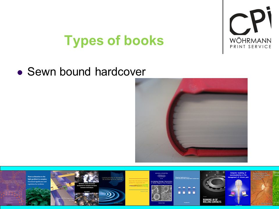 Types of books Sewn bound hardcover