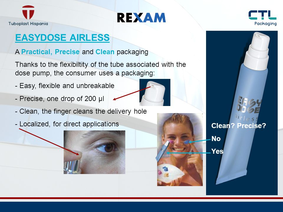 EASYDOSE AIRLESS The collapsable body of the tube allows an effortless restitution rate between 92 to 98% ( normal packaging: 85% aprox.) A benefit… For the consumer ( positive perception ) For the brand (honesty of the content) For the manufacturer ( savings: the filling is closed to the nominal content )