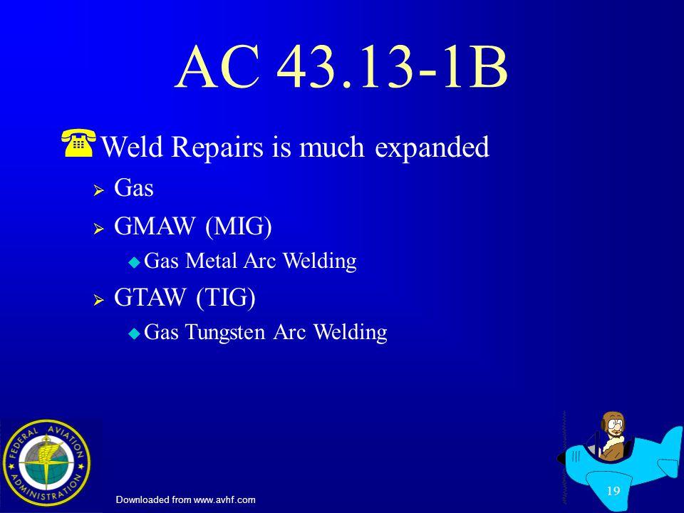 Downloaded from www.avhf.com 19 AC 43.13-1B ( Weld Repairs is much expanded Gas GMAW (MIG) u Gas Metal Arc Welding GTAW (TIG) u Gas Tungsten Arc Welding