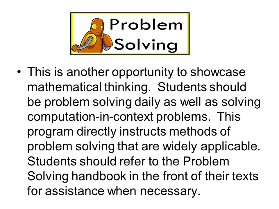 This is another opportunity to showcase mathematical thinking.