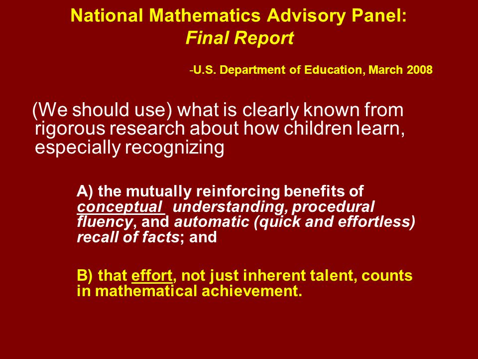 National Mathematics Advisory Panel: Final Report -U.S.