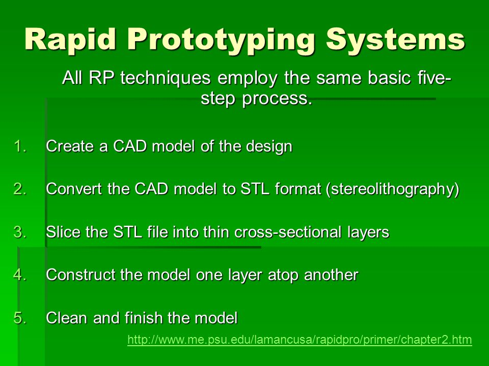 Rapid Prototyping Systems All RP techniques employ the same basic five- step process. 1.Create a CAD model of the design 2.Convert the CAD model to ST