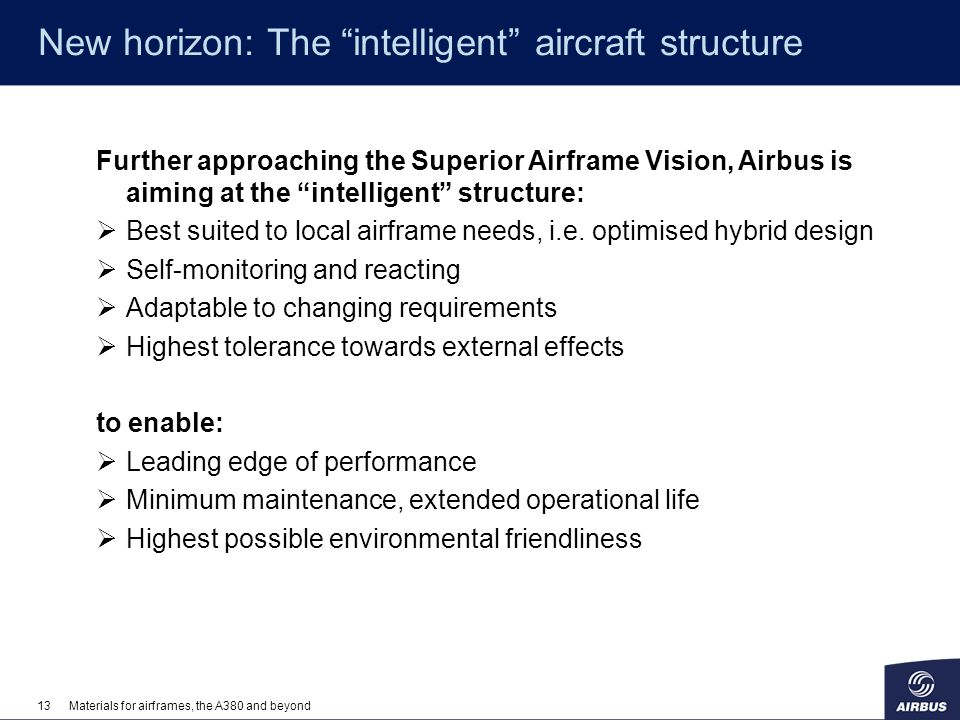 13Materials for airframes, the A380 and beyond New horizon: The intelligent aircraft structure Further approaching the Superior Airframe Vision, Airbu