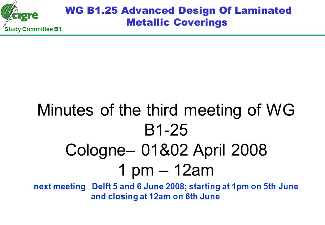Study Committee B1 WG B1.25 Advanced Design Of Laminated Metallic Coverings Minutes of the third meeting of WG B1-25 Cologne– 01&02 April 2008 1 pm –