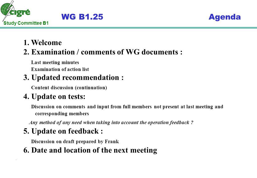 Study Committee B1 WG B1.25 Agenda. 1. Welcome 2.
